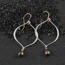 Ovoid Earring with Pyrite Briolette