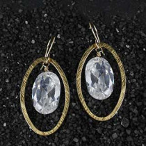 Oval and Faceted CZ Gemstone Earring
