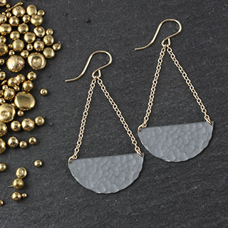Chained Sliced Disc Earring: Large (e-sdl7)