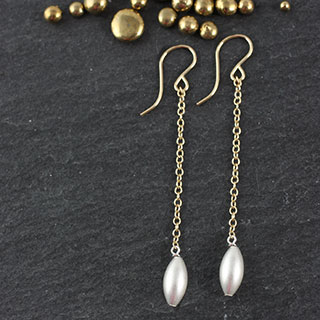 Large Rice Bead Earring on Chain (e-vbl1)