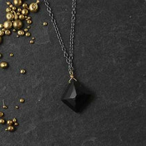 Geo Shape Black Spinel Pendant Necklace
