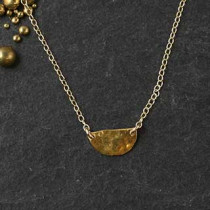 Hammered Tiny Half Disc Necklace