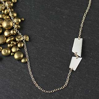 Double Crazy Cut Side Necklace (n-cj20)