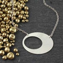 Punched Oval Necklace: Medium