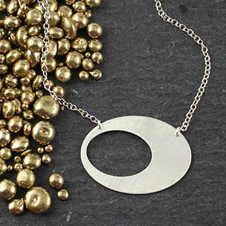 Punched Oval Necklace: Medium (n-cv03)