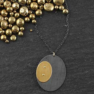Riveted Double Oval Necklace (n-cv21)