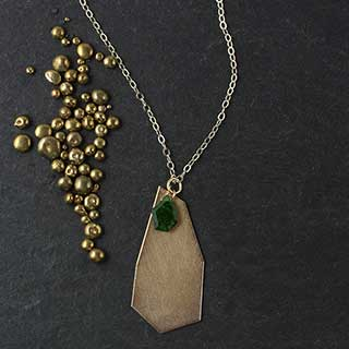 Jumbo Crazy Cut Pendant with Deep Green Accent (n-dg2c)