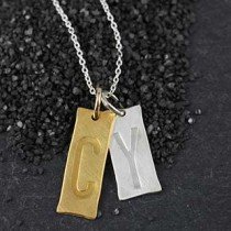Two Embossed Rectangles Necklace
