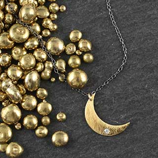 Sm Crescent Moon Necklace with CZ (n-fc1s)