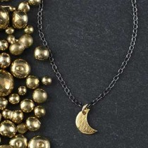 Tiny Flat Crescent Charm Necklace