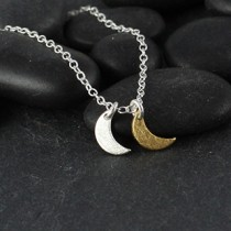 Dble Tiny Flat Crescent Moon Necklace