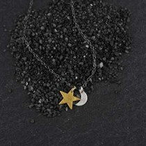 Tiny Flat Crescent Moon + Star Necklace