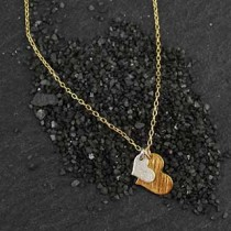 2 Mixed Flat Heart Charm Necklace