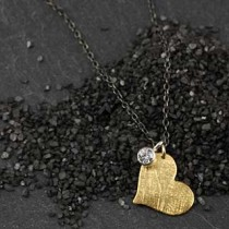 Flat Heart and Gem Charm Necklace