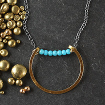 Sliding Flat Ring Necklace with Collar
