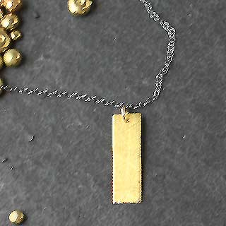 Simple Gold Rectangle Necklace (n-gb1r)