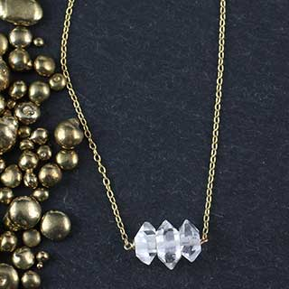 Three Herkimer Diamond Necklace (n-he03)