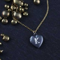 Engraved Tiny Heart Locket Necklace: Monogram