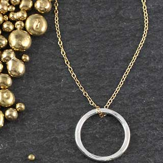 Lg Hammered Ring Necklace (n-hrl0)