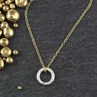 Sm Hammered Ring Necklace (n-hrs0)
