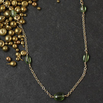 Five Green Pebble Necklace