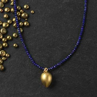Micro Lapis Necklace with Pendant (n-la2f)