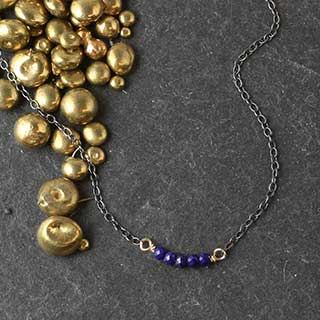 5 Faceted Lapis Necklace (n-lx5t)