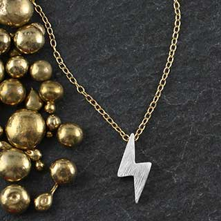 Plated Mini Slider Necklace - lightening bolt (n-minb)