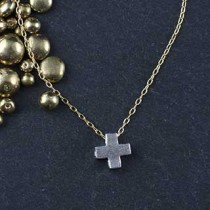 Plated Mini Slider Necklace - Cross