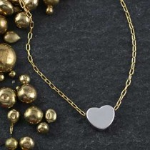 Plated Mini Slider Necklace - heart
