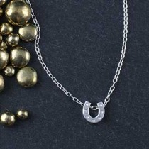 Plated Mini Slider Necklace - horseshoe