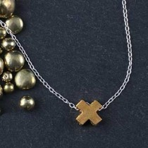 Plated Mini Slider Necklace - X