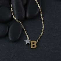 Initial and Star Slider Necklace