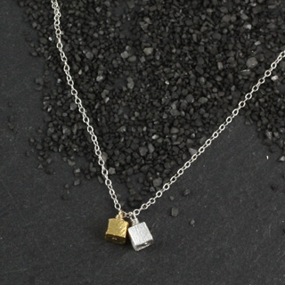 Double Microcube Necklace (n-mmc2)