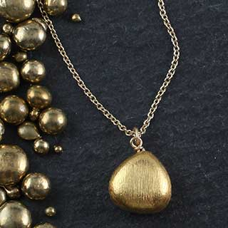Brushed Metal Tiny Pear Necklace (n-mtp0)