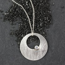 Punched Disc Necklace w/ CZ
