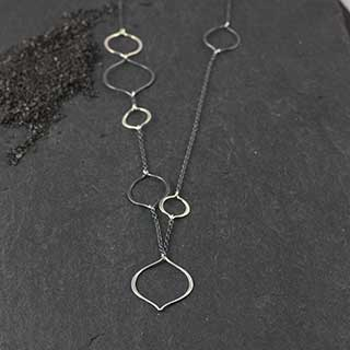 Pointed Ovoid Linked Necklace (n-pv07)