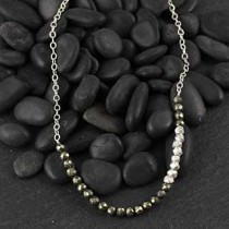 Pyrite and Faceted Silver Necklace
