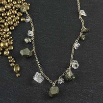 Mixed Pyrite and Herkimer Diamond Necklace