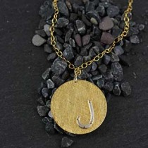 Riveted Initial Necklace:Large Disc
