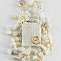 Riveted Initial Necklace: Large Rectangle