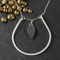 Curved U and Labradorite Marquise Necklace