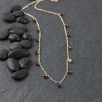 13 Gem and Faceted Hex Bead Necklace