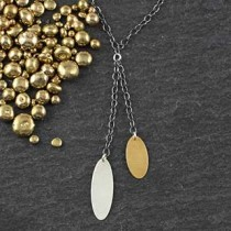 Double Chain Skinny Oval Necklace