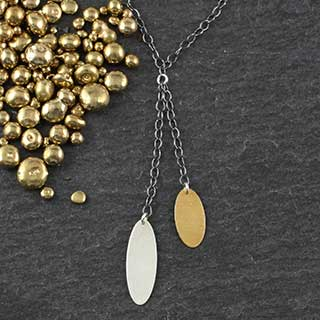 Double Chain Skinny Oval Necklace (n-sv79)