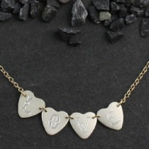 4 Tiny Engraved Sweethearts Necklace