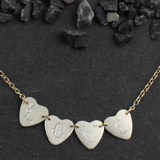 4 Tiny Engraved Sweethearts Necklace (n-sws4)