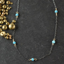 5 Linked Turquoise Rondelle Necklace