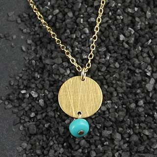 Turquoise and Small Disc Necklace (n-tqz22)