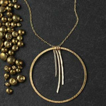 Three Thin Hammered Sticks with Ring Necklace